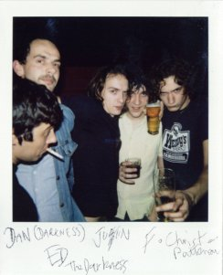 The Darkness, signed rolaroid, Stay Beautiful Club @ Islington Bar 2002